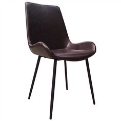 Dunstan PU Leather Upholstered Metal Dining Chair, Vintage Dark Brown Faux Leather Dining Chairs, Metal Dining Chairs, Dining Chair Set, Side Chairs, Upholstered Chairs, Pu Leather, Dark Brown, Vintage, Parsons Chairs