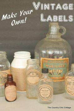 Grab these free printables and make your own vintage labels. A quick and easy project to make any jar or bottle look old in minutes. Use them for your paper crafts like scrapbooking, card making an…