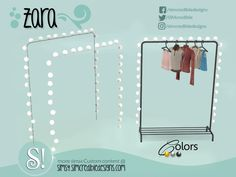 's Zara lamps *for clothes rack* Los Sims 4 Mods, Sims 4 Game Mods, The Sims 2, Sims Four, Around The Sims 4, Sims 4 Mods Clothes, Sims 4 Clothing, Clothing Racks, Sims 4 Tsr