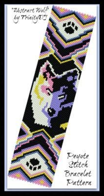 Very striking, vibrant, popular, ethnical, one of a kind, fashion statement Peyote Stitch Bracelet pattern/ tutorial is this beauty: Wolf Abstract. This pattern is also available in Square stitch, listed here: https://www.etsy.com/listing/224639868/bp-ab-142-2015-37-wolf-abstract-square?ref=shop_home_feat_2 ++++++++++++++++++++++++++++++++++++++++++++++++++++++++++++++++++ Wolf Abstract - PEYOTE STITCH CUFF has been designed for the use of Delica #11 seed ...