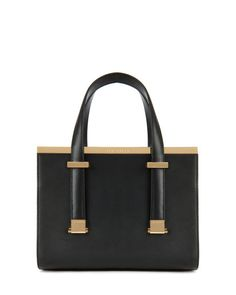Leather metal bar tote bag - Black | Bags | Ted Baker