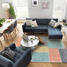 Image of lounge area, with central sofa, dining area and play corner. Living Dining Combo, Open Plan Kitchen Living Room, Small Living Rooms, Open Plan Living, New Living Room, Living Room Designs, Small Living Dining, Small Lounge, Lounge Areas