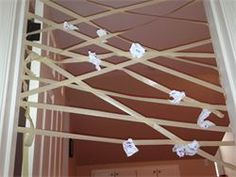 Life of Nanny: Frugal Rainy Day Activities Kid's activities, free games, fun on a budget Masking Tape Game! Throw paper at it and see who can get the most to stick!