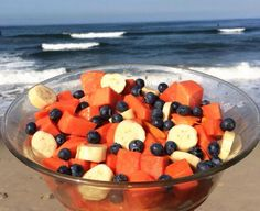 Papaya, bananas, blueberries