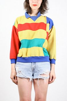 Vintage Color Block Sweatshirt 1980s 80s Sweater Primary Colors Jumper Preppy Pullover Red Yellow Blue Green Slouchy Cosby Sweater M Medium by ShopTwitchVintage #vintage #etsy #80s #1980s #colorblock #primary #sweatshirt #preppy #rugby #jumper
