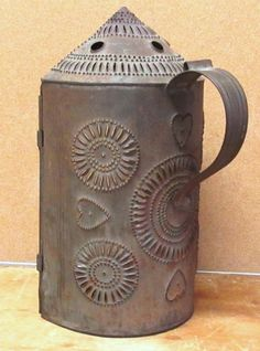 """THE ABSOLUTE BEST 19TH C HEART DECORATED PIERCED TIN """"REVERE"""" TYPE LANTERN #Americana"""
