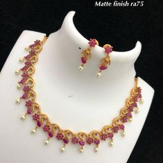 Temple Jewellery available at Ankh Jewels for booking msg Temple Jewellery available at Ankh Jewels for booking msg Pearl Necklace Designs, Gold Earrings Designs, Gold Jewellery Design, Ruby Necklace, Gold Necklace Simple, Gold Jewelry Simple, Ruby Jewelry, Temple Jewellery, Fashion Jewelry