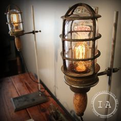 Vintage Industrial Lovell Brass Trouble Lamp on Chemistry Lab Stand Steampunk… Cabin Lighting, Industrial Lighting, Rustic Industrial, Vintage Lighting, Cool Lighting, Lighting Design, Steampunk Design, Steampunk Lamp, Steampunk Coffee