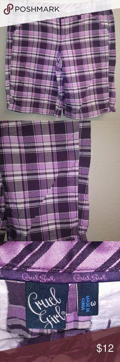 Cruel Girl Plaid Shorts Juniors Sz 3 Purple and Pi Cruel Girl Plaid Shorts Juniors Sz 3 Purple and Pink EUC Cruel Girl Shorts
