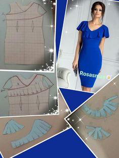 Add flounce to a basic dress pattern - Source by ntejmurazoevna Dresses Dress Sewing Patterns, Blouse Patterns, Clothing Patterns, Sewing Blouses, Tailored Shirts, Fashion Sewing, Elegant Dresses, Pattern Fashion, Fashion Dresses