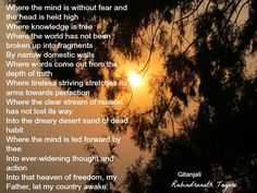 rabindranath tagore poems in english gitanjali - Google Search