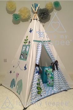 Little Jungle nelly elephant nursery kids teepee set chevrons & clouds wigwam tipi play den. Teepee Play Tent, Teepee Party, Kids Tents, Teepee Kids, Teepees, Artistic Room, Childrens Teepee, Imagination Toys, Tent Accessories