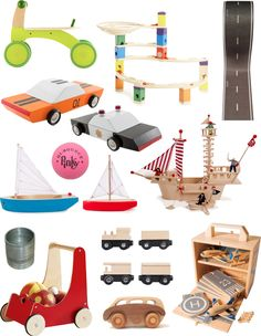 A Lovely Lark: Holiday Gift Guide 2014: Little Movers best collection of wooden toys, scooters, boats, cars