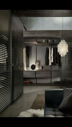 Good idea for wardrobe, separated by timber slat walls