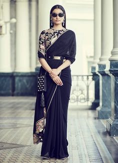Romantic power dressing in a jet black saree. The lavish blouse is hand-embroidered on black tulle with vintage threadwork and appliqué,… Latest Saree Trends, Latest Sarees, Sabyasachi Sarees, Anarkali, Lehenga, Bollywood Saree, Bollywood Fashion, Power Dressing, Indian Dresses