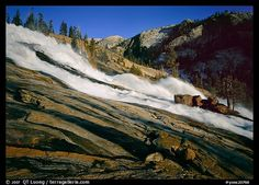 Waterwheels Fall of the Tuolumne River, late afternoon. Yosemite National Park