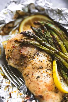 Lemon Chicken & Asparagus Foil Packs | lecremedelacrumb.com