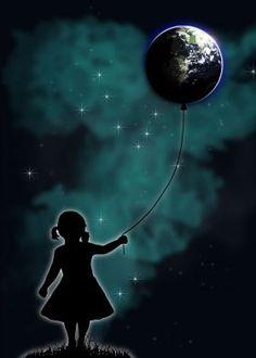 The Girl That Holds The World #girl #balloon #universe #planet #earth #artprint  #wallart #wallartprints