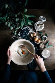 Buckwheat Blueberry & Ricotta Hotcakes with Maple & Seeds