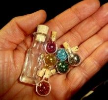 """Bottled up """"Pixie Dust"""" glitter & beads in a mini-jar, make necklaces or… Bottle Jewelry, Bottle Necklace, Herb Shop, Glitter Crafts, Miniature Bottles, Fairy Doors, Mini Bottles, Fairy Dust, Summer Diy"""