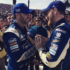 Dale Jr. celebrates a dominant win at Talladega Superspeedway with friend and teammate Jimmie Johnson! -JW