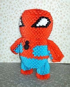 3D Origami Spiderman Handmade Gift Doll Modular