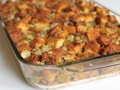 GF Stuffing recipe.  I added an egg before baking and used Udi's GF whole grain bread (toasted or dried out).