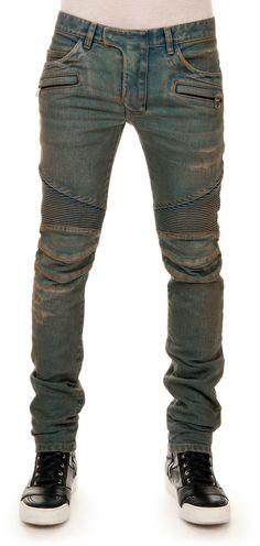 Balmain Distressed Biker Denim Jeans, Blue