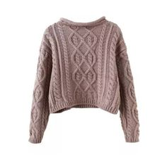 SheIn(sheinside) Khaki Mock Neck Cable Knit Crop Sweater (€20) ❤ liked on Polyvore featuring tops, sweaters, jumpers, khaki, mock neck sweater, pullover sweater, brown sweater, cable sweater and cropped turtleneck sweater