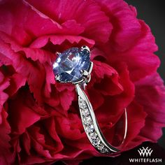 Legato Sleek Line Pave Diamond Engagement Ring with a Blue Sapphire