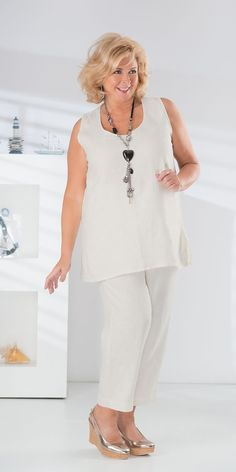 Kasbah cream linen vest and crop trouser
