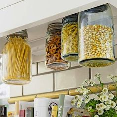 My dad did this with nuts and bolts.  Never thought to store food this way.  So clever!