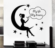 Wall Decal Teen Girl Fairy Moon Star Dreams Bedroom Decor Vinyl Stickers ig2571