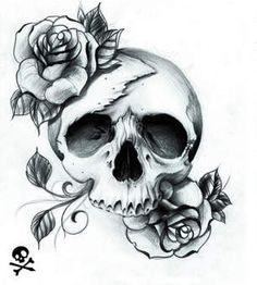 a skull with a rose on the to and bottom its the most beutifullest sull ive seen