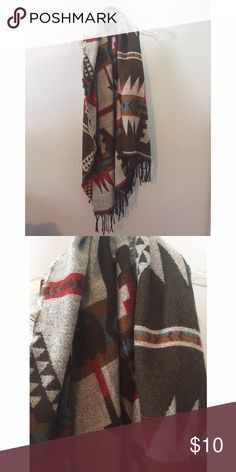 Soft Cotton Blanket Scarf Reversible print. Gently used. From Cotton On. Very large and warm! Cotton On Accessories Scarves & Wraps