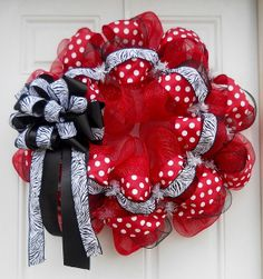 Red Mesh Polka Dot & Zebra Wreath SOLD by dottiedot05 on Etsy, $65.00