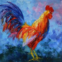 ORIGINAL Oil Painting Rooster 24 x 24 Colorful Animal Orange Red Blue Textured Palette knife ART by Marchella. $189.00, via Etsy.