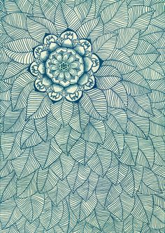 Emerald Green, Navy & Cream Floral & Leaf doodle by micklyn