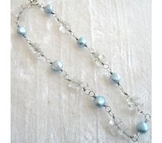 Blue Pearl Bracelet and Blue Topaz Chips Wire Wrapped Bracelet with Solid Sterling Silver Argentium 930 Anti Tarnish wire, $50.0