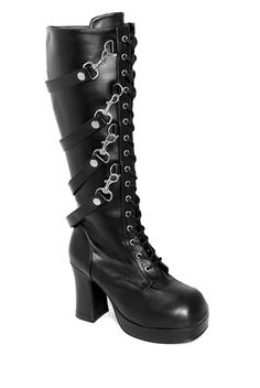 5e9395fac0a Demonia Removable Straps Lace-Up Boots