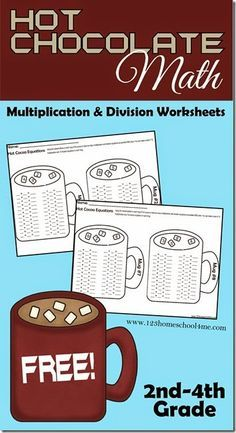 Hot Chocolate Math - Multiplication and Division Worksheets. These FREE printable math worksheets help kids in and grade practice key multiplication and division in a fun, meaningful way. Kids love the marshmallows! Free Printable Math Worksheets, Kids Math Worksheets, Printables, Addition And Subtraction Worksheets, Math Addition, Homeschool Math, Curriculum, Homeschooling, Math Multiplication