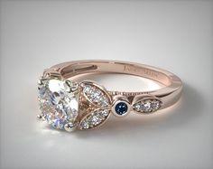 14K Rose Gold Floral Engagement Ring
