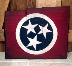 Tennessee Native Flag Painted Sign Red White and Blue by SignNiche, $60.00