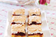 Cherry and coconut slice recipe, NZ Womans Weekly – These sweet meringue topped treats are perfect for a delicious afternoon tea - Eat Well (formerly Bite) My Recipes, Sweet Recipes, Baking Recipes, Recipies, Chocolate Caramel Slice, My Favorite Food, Favorite Recipes, Coconut Slice, Christmas Baking