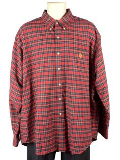 1019aa6e Mens Lauren Ralph Lauren Red Plaid Dress Shirt Size XL Button-Down Collar L /S