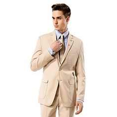 Champagne Solid Tailored Fit Suit In Viscose – USD $ 115.99