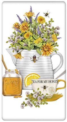 "Beehive Honey Teapot 100% Cotton Flour Sack Dish Towel Tea Towel - 30"" x 30"" by Designer Mary Lake Thompson"