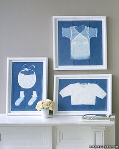 I saw something similar in Parents Magazine, where you put baby clothes with fun designs, prints, or appliques in embroidery hoops, and presto! cheap wall art for the nursery!