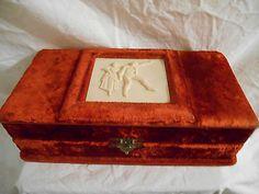 Victorian Velvet and Silk Dresser Box with Brush Comb Sterling Mirror 1884 | eBay