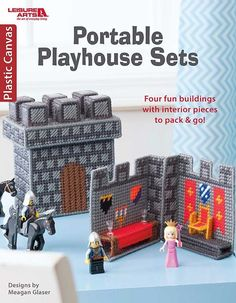 Portable Playhouse Sets in Plastic Canvas - With Portable Playhouse Sets in Plastic Canvas from Leisure Arts, kids can let their imaginations run free. Four cute sets by Meagan Glaser include Cottage, Barn, Castle, and Burger Shop. Each set includes a box-like exterior building and an interior section that lifts out and has furniture and other accessories; the scenes can be brought to life when kids add their favorite toy people and animals. Removable roofs let the playhouses be packed up…